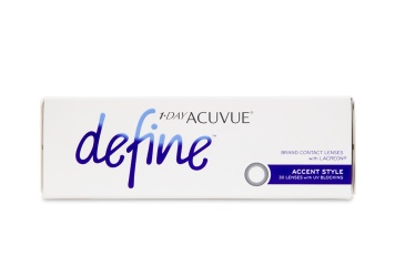 """Celebrate the one of a kind beauty of your own eyes with new 1 Day Acuvue Define contact lenses a line inspired by the unique allure of a everyones true natural colour. Using the same acclaimed design behind 1 Day Acuvue Moist these five new lenses offer superior comfort and use expertly blended designs to seamlessly compliment your eye colour brighten and highlight and bring dimension and definition without drastically changing your natural look.  brbr1 Day Acuvue Define Accent 30 Pack is also available in a convenient a href""""http://www.coastal.com/contact-lenses/acuvue/1-day-acuvue-define-accent-style-90-pack""""1 Day Acuvue Define Accent 90 Pack!/a"""