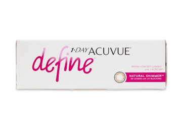 """Acuvue Define contact lenses a line inspired by the unique allure of a everyones true natural colour. Using the same acclaimed design behind 1 Day Acuvue Moist these five new lenses offer superior comfort and use expertly blended designs to seamlessly compliment your eye colour brighten and highlight and bring dimension and definition without drastically changing your natural look.  brbr1 Day Acuvue Define Natural Shimmer 30 Pack is also available in a convenient a href""""http://www.coastal.com/contact-lenses/acuvue/1-day-acuvue-define-natural-shimmer-90-pack""""1 Day Acuvue Define Natural Shimmer 90 Pack!/a"""