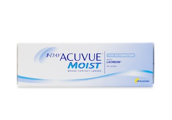 pWhether you were born with astigmatism or have undergone an eye injury resulting in varying amounts of astigmatism 1 Day Acuvue Moist for Astigmatism contact lenses provide unsurpassed vision correction.br/br/  Astigmatism may cause near or farsightedness depending on the shape of your cornea and these hydrating Acuvue Moist for Astigmatism contacts are customizable according to your prescription. Whether you suffer from nearsightedness or farsightedness we have you covered at Coastal. We offer each box of contacts to match your exact parameters. br/br/  Featuring Lacreon technology that embeds a layer of natural water-holding material similar to real tears into every lens these contacts offer a cushion of moisture to keep your eyes refreshed all day long. Delivering the convenience of daily wear without the need for scheduled changes and enhanced hydration for long-lasting comfort Acuvue Moist for Astigmatism keeps the smallest details in clear view close up and at a distance.br/br/