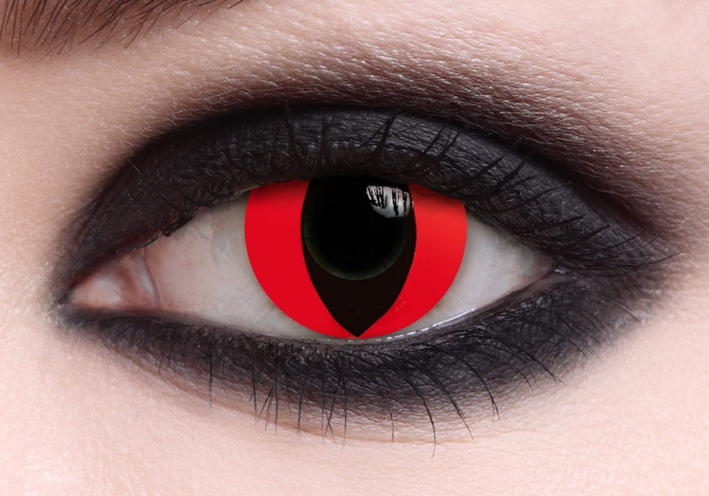 Dark red cat eye contacts